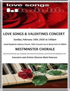 Love Songs and Valentines Concert Westminster Chorale