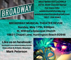Westminster Chorale Presents Broadway Musical Theater Revue Concert